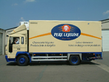 Stickers are placed on lorry body from Père Lejeune