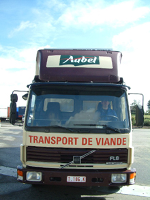 You can see here one type of four-colour printing on bodywork placed on every Detry's lorry in Aubel