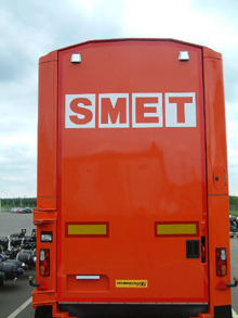 Here is a lettering sticker on the back door of a lorry.