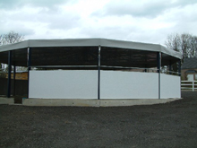 Here is a made to measure tarpaulin to cover walls of a riding school.