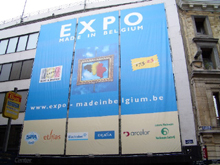 This full four-colour printing tarpaulin was set up on a building in Brussels for the 175th anniversary of Belgium