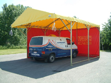 This galvanised steel party tent was made to measure for a car wash.