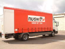 This sliding tarpaulin was manufactured for a Nuswift lorry