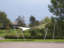Here is a tensile canvas with masts