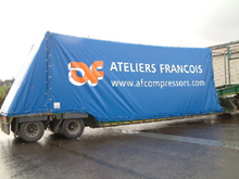 You can see here Schreiber made to measure tarpaulin for lorry with cable tightening system for AF Compressors