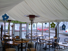 This clear span marquee roof was entirely decorated with linings