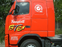 Here is cab lettering of a BTE Transport lorry