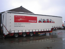 Here is a Schreiber made to measure tarpaulin for a semitrailer Faymonville with pictures printing