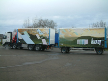 Here are sliding curtains for trailer lorry with full quadri digital printing for Knauf