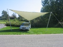 This tensile structure can be used to protect a car in front of a showroom
