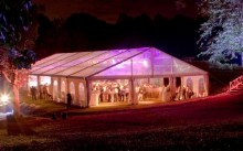 Here is a splendid marquee set up on an island with entirely transparent tarpaulin