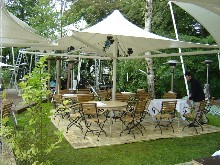 This tensile structure was set up un a restaurant as solar protection