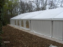 You can see here a Schreiber aluminium marquee situated at a copse entrance