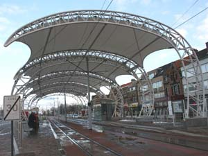 Tensile structure in Newport for a tramway station.