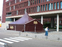 Pagoda-shaped marquee with Leffe lettering for Inbev