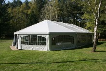 Apse-shaped marquee put up for a wedding