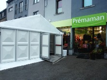 Clearspan marquee with hard PVC sidewalls for a Prémaman shop in the Luxembourg Province.